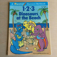 """Vintage Questron Book """"123 DINOSAURS AT THE BEACH"""" for Electronic Learning Wand"""