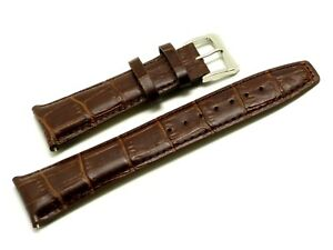 26mm Brown Alligator Grain Leather Watch Band Strap Silver Tone Buckle