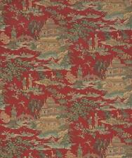 Wallpaper Designer Van Luit Green Rust Beige Brown Aqua Tan Asian Toile on Red