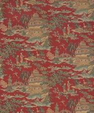 Wallpaper Designer Van Luit Green Rust Beige Brown Aqua Tan Asian Toile on Red