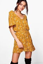 Vintage Ruffle Floral Printed Playsuit Romper Jumpsuit - Mustard/Yellow/White