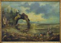 Antique Painting, Seascape,Oil on Canvas,Signed, Framed 19th C.(1800s ),Gorgeous