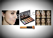 Corrector paleta 15 Color cara Contorno Maquillaje Camuflaje neutral Plus Cepillo