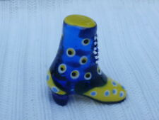 Global Village Miniature Glass Boot High Top Shoe Spots in Blue and Yellow