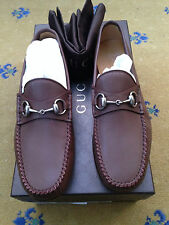 New Gucci Men's Shoes Brown Leather Horsebit Moccasin Loafers UK 7 US 8 EU 41