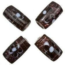 Fused Flower Transparent Dark Brown Tube Glass Beads 20x10mm Pack of 4 (A79/2)