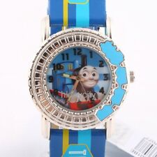THOMAS BLUE LEATHER SILVERY THICK  TURN COIL CHILD WATCH TF-3K2173U-001BE