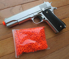 Metal 1911 Airsoft Spring Pistol + 1000 RD Precision BB Shoot Hard Up to 300 FPS