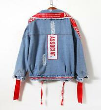 Womens red blue Denim jeans jacket BF Hole patch denim jacket coat