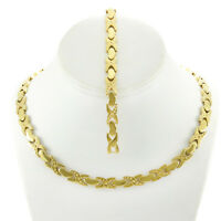 NEW Womens 14K Gold Tone Hugs and Kisses Stampato Necklace Bracelet set XOXO 18""
