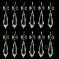 10PCS CLEAR CHANDELIER GLASS CRYSTALS LAMP PRISMS PARTS HANGING DROPS 38MM
