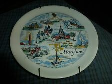 "Vintage Maryland Sheffield Pottery Wall Hanging Plate 7"" Sheffield, Ma Usa Vg !"