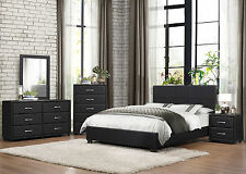 new birchdale 5 piece modern black bedroom set w queen panel platform vinyl bed