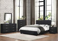 MIDLAND - 5pcs Black Vinyl Cover Queen Size Low Platform Bedroom Set Furniture