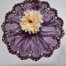 Purple Embroidered Lace Edge Trim Craft 1Yd 21cm Width Flower Tulle lace Trim