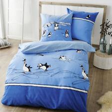 Kaeppel Fein-Biber Bettwäsche 135x200 cm Design 6281 Pinguine blau Iglo Schnee