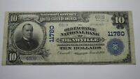 $10 1902 Okawville Illinois IL National Currency Bank Note Bill Ch. #11780 FINE+