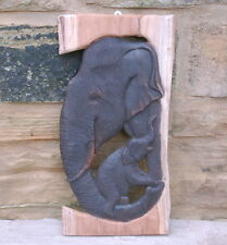 Wooden Elephant Carved Teak Wall Plaque Mother & Baby Elephant