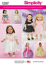 """Simplicity Pattern 1297 DRESSES FOR 18"""" DOLL fancy party dresses and gowns"""