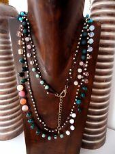 R18 Collar doble Crisocola Ágatas Opalo Cuarzo Boho Artesanía Handmade Jewelry