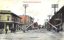 Canastoga Ny Peterboro Street Railroad Tracks Store Fronts Postcard