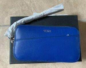 TUMI Blue & Orange Inside Zip Around Wallet Card Coin Case w/ Wristlet Strap NEW