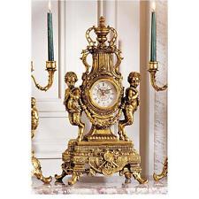 "24"" French Late Baroque Rococo Ornate Twin Pan Figures Quartz Mantle Desk Clock"