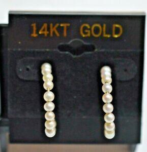 14K Yellow Gold Cream-Rose Seed Pearl Hoop Earrings $1 $480