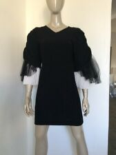 Chanel Runway Size 40 Cotton Spandex Lbd Little Black Dress Dramatic Net Sleeves