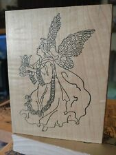 Stamps happen, harpsichord playing Angel, BW, 125,rubber,stamp