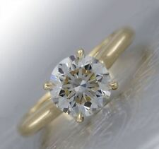 2 CT White Round Moissanite Solitaire Engagement Wedding Ring 14K Yellow Gold