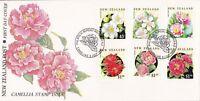 NZFD934) NZ 1992 Camellia Stamp Issue Flower cachet FDC