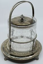 Antique fine etched Crystal & Silver plate Pickle Jar with lid & handle signed