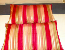 Pair of Red Green Gold Satin Stripe Print Bolster / Lumbar Pillows  23  x 14