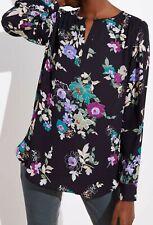 Ann Taylor LOFT Floral Keyhole Blouse Top Size X-Small Black Color NWT