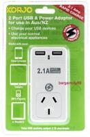 New Korjo Power USB & Plug Adaptor AU AUS Australia Only