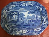 Antico VASSOIO Marchio Stampato e Inciso COOPELAND England Blu Bianco 27x37 cm