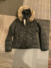 Abercrombie & Fitch Womens Small Black Faux Fur Puffer Hooded Jacket