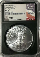 2021 AMERICAN SILVER EAGLE  NGC MS70 FIRST DAY OF ISSUE - MERCANTI BLACK CORE