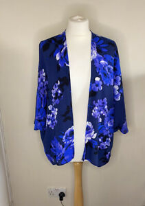 New Look UK 10 Blue Floral Botanical Printed Silky Kimono Jacket Cover Up