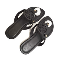 Tory Burch Miller Black Leather Flat Classic Sandals Logo Hot Shoes Fashion