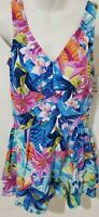 Maxine of Hollywood Empire Swimdress Plus Size One Pc Swimsuit Multi-Color Print