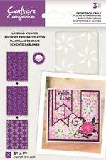 "Crafter's Companion ~ Layering Stencils ~ 3 piece ~ 5x7"" ~ Geometric Florals"