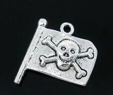 5 x Tibetano Argento Jolly Roger Pirata Bandiera Ciondolo Ciondoli