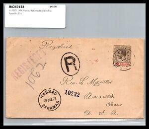 GP GOLDPATH: BAHAMAS COVER 1922 REGISTERED LETTER _CV731_P12