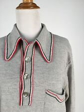 Vintage 1970s 60s Grey Boyfriend Sweater Fantastic Collar Red Piping Detail M L