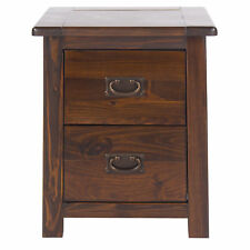 Pair of 2 x Boston Dark Wood Tinted Pine 2 Drawer Bedside Cabinet Table Unit