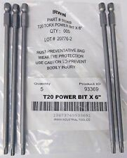 """Irwin 93369 T20 Torx Power Bits 1/4"""" Hex Drive 6"""" OAL 5 Pack"""