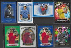 (8) UD Goodwin Champions Tiger Woods PGA Golf Splash 3D Royal Blue SP Card LOT