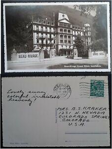 1936 Switzerland Postcard-Grand Hotel ties 5c Stamp cd Interlaken